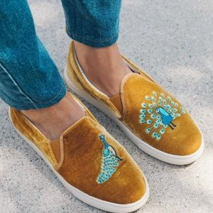 Soludos Anthropologie Gold Peacock Slip-On Sneaker